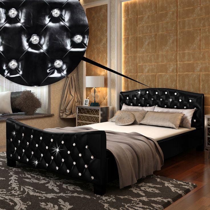 Buy best black Bright Faux Leather Bed with Acrylic Crystals 140 x 200 cm Black from LovDock.com. Buy affordable and quality Beds & Bed Frames online, various discounts are waiting for youhttps://www.lovdock.com/p-240859de.html?aid=C6624