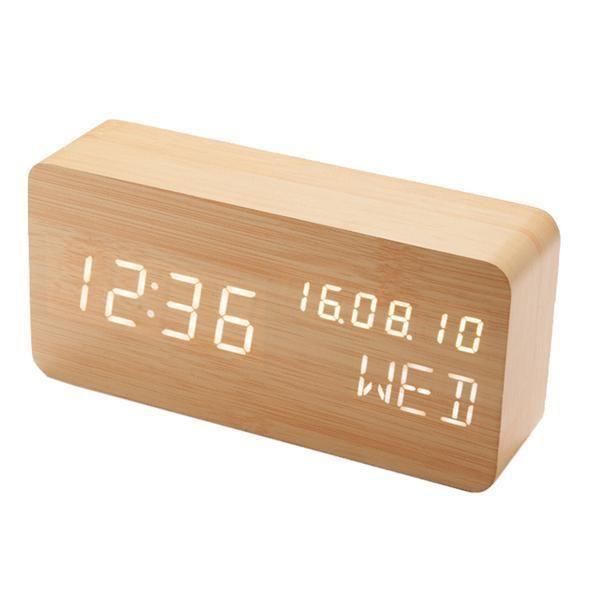 Modern Wood Clock In 2020 Led Alarm Clock Alarm Clock Digital