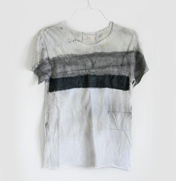 Unisex t-shirt distressed light gray dark gray urban ripped men women graphic t-shirt black line linen shirt