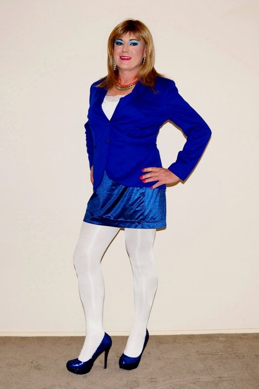 Cd Anita Makova In A Blue Outfit And Heels With White Shiny Pantyhose My Fav Pantyhose Pinterest Crossdressers How To Wear And Outfits