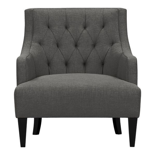 Crate and Barrel Tess Chair – Cute small scale lounge chair for living room, can place 2 in the space.