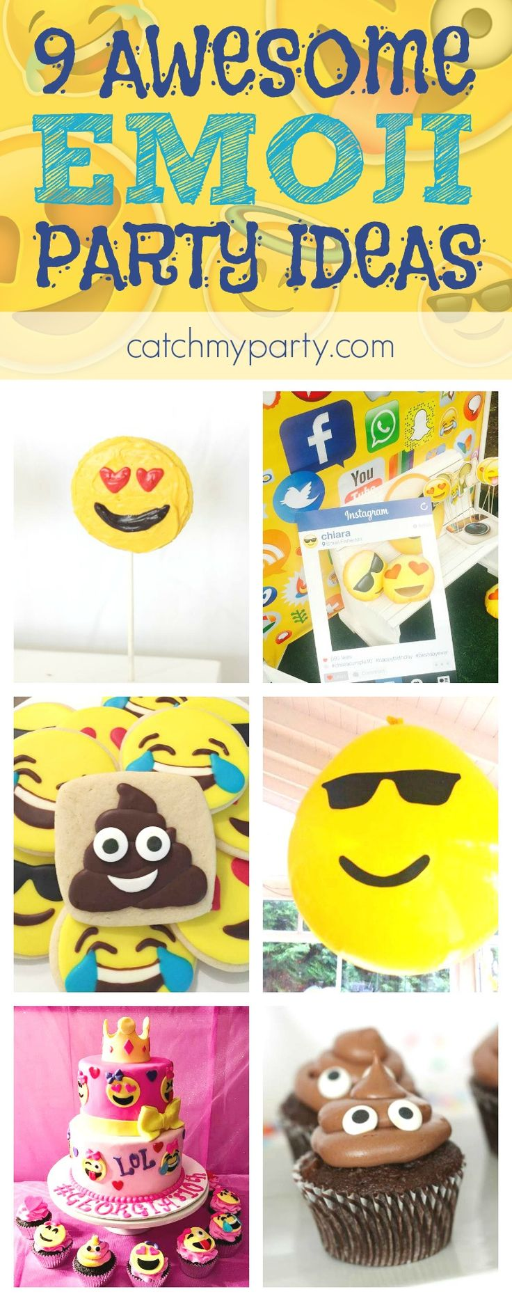 9 awesome Emoji party ideas including ideas for cakes, cupcakes, decorations, party favors, etc. | See more party ideas and share yours at CatchMyparty.com