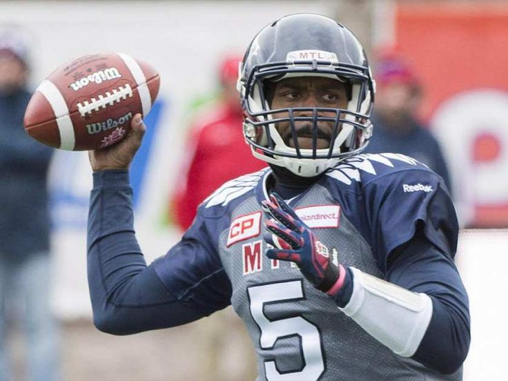 Wk 17 - Oct.18 2015 - TiCats 23 - Mtl 11 - Montreal Alouettes quarterback Kevin Glenn throws a pass during first half CFL football action against the Hamilton Tiger Cats in Montreal, Sunday, Oct. 18, 2015.