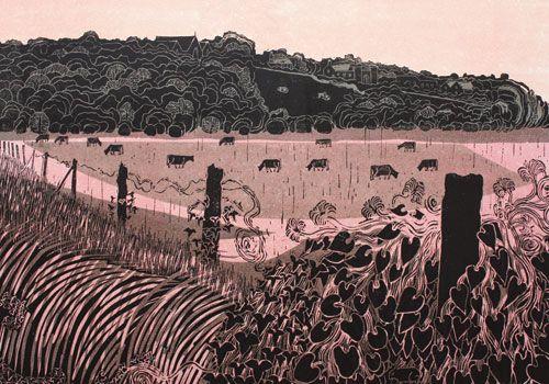 Wincheslea Linocut by Robert Tavener