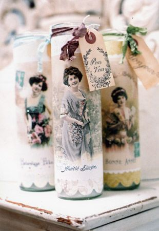 Anna Corba - Found Cat Studio - altered tall jar candles