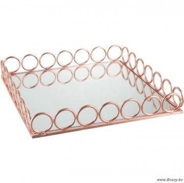J-Line Vierkante plateau met ringen in koper metaal en spiegel 40