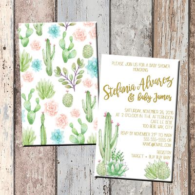 Cactus & succulents baby shower invitation-2 sided