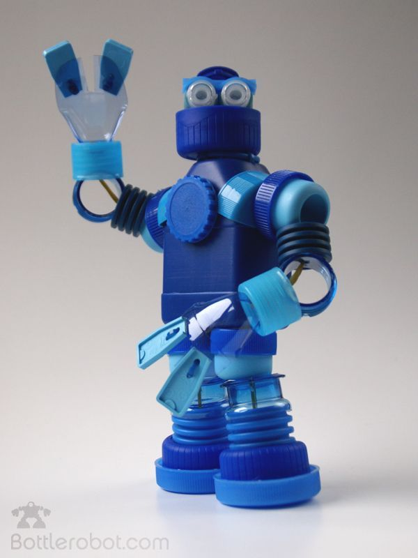 Robots made from old bottle tops.