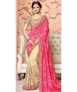 Fetching Pink And Beige Silk Saree.