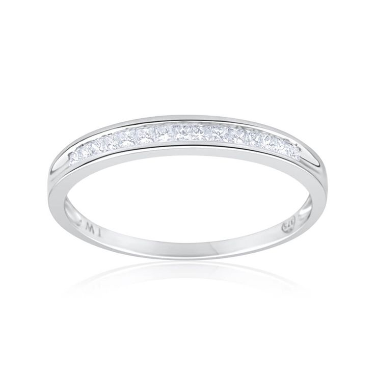 Diamond Wedding-Eternity Ring in 9ct White Ring (TW=15pt) image-a