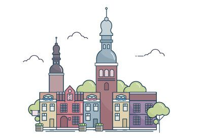 In this tutorial you'll learn how to create the colorful city landscape of Riga using outlines, the Align panel and the Pathfinder panel. | Difficulty: Intermediate; Length: Long; Tags: Global Influences, Illustration, Vector, Adobe Illustrator