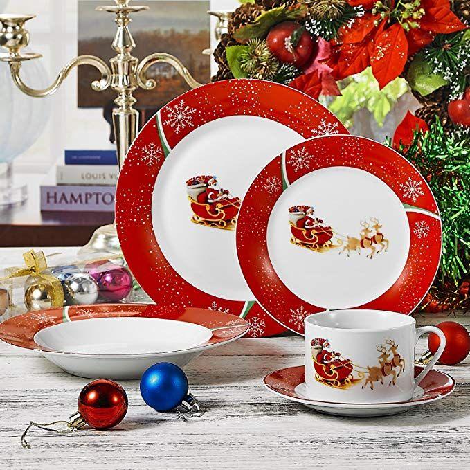 Veweet 30 Piece Ceramic Dinnerware Set Christmas Dinnerware Sets Holidays Christmas Dinn Christmas Dinnerware Christmas Dinnerware Sets Ceramic Dinnerware Set
