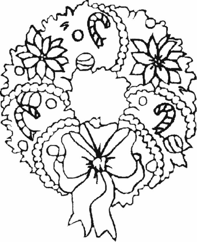 free christmas wreath coloring page for kids