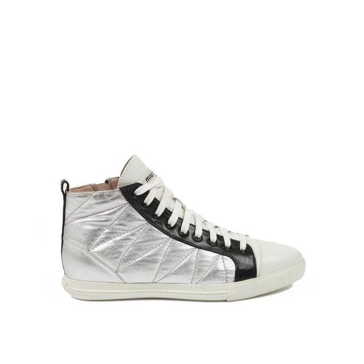 Miu Miu Ladies High Top Sneakers SILVER #MIUMIU #DesignerSneakers