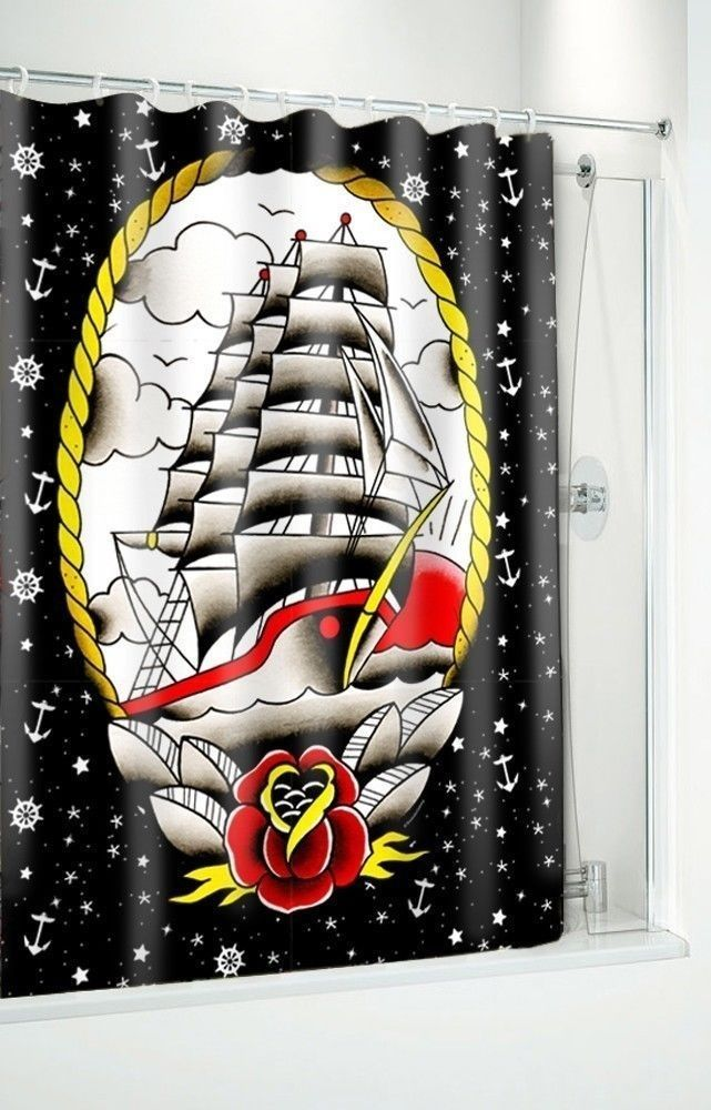 #SOURPUSS #CLIPPER #SHIP #SHOWER #CURTAIN #Nautical #Stars #Anchors #Pirate #Tattoos #Rose #Sourpuss