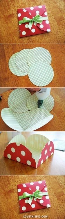 DIY Simple Beautiful Envelope~ Circle paper punch, glue and ribbon. Great for a gift card, card, small gift item, etc.