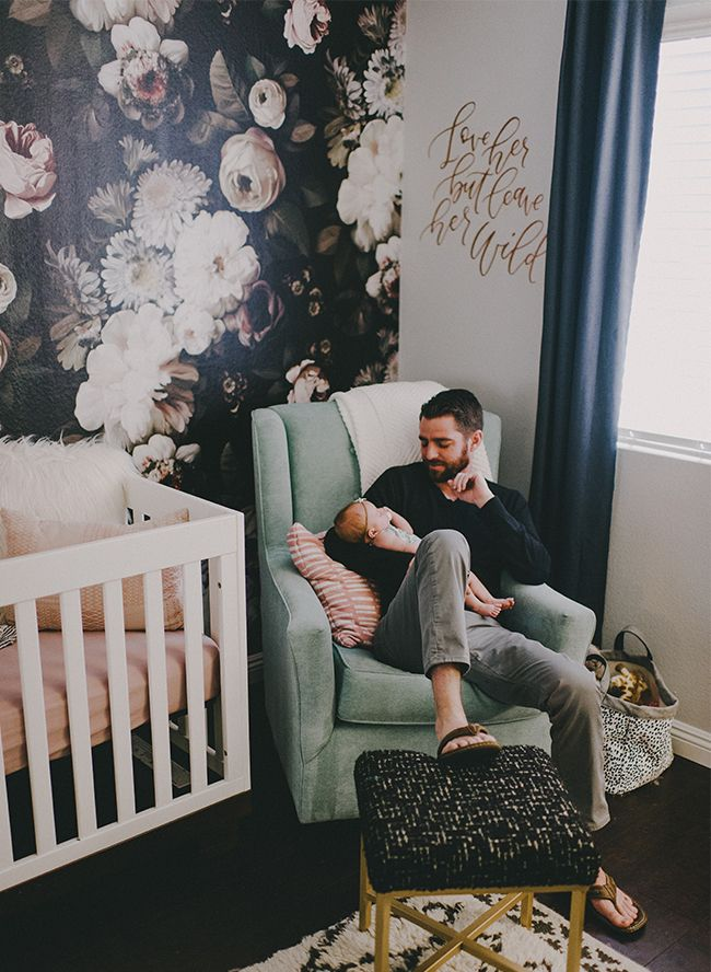 This nursery is fit for a fabulous baby girl. The wallpaper is a WIN.