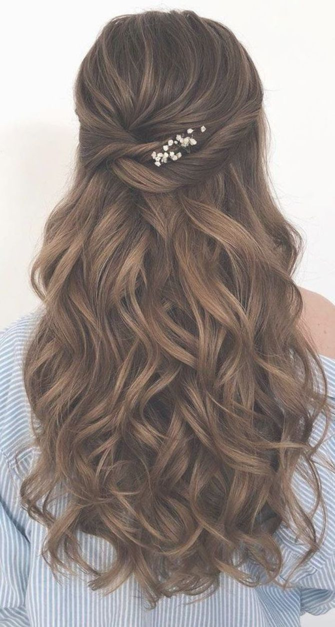 43 Gorgeous Half Up Half Down Hairstyles , partial updo hairstyle , braid half… | Fall wedding ...