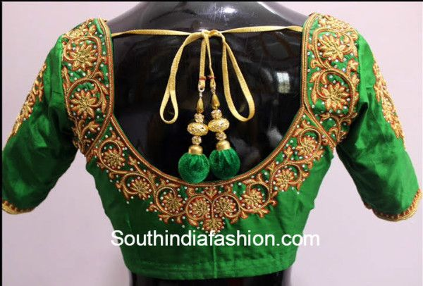 blouse designs for silk sarees, maggam work blouse