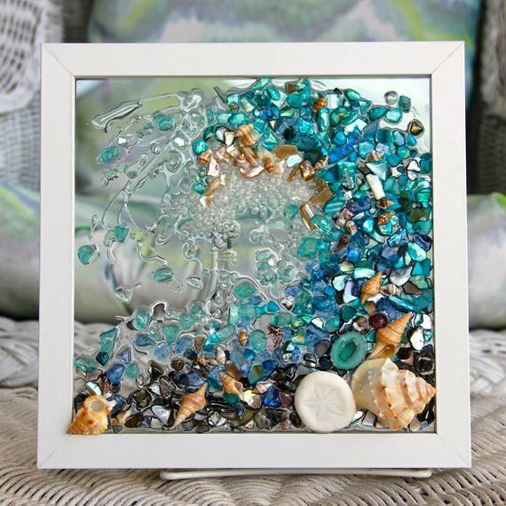 Beach Glass Art For Beach Decor Wave Art Made From Seashells Etsy Sea Glass Artwork Beach Glass Art Seashell Wall Art