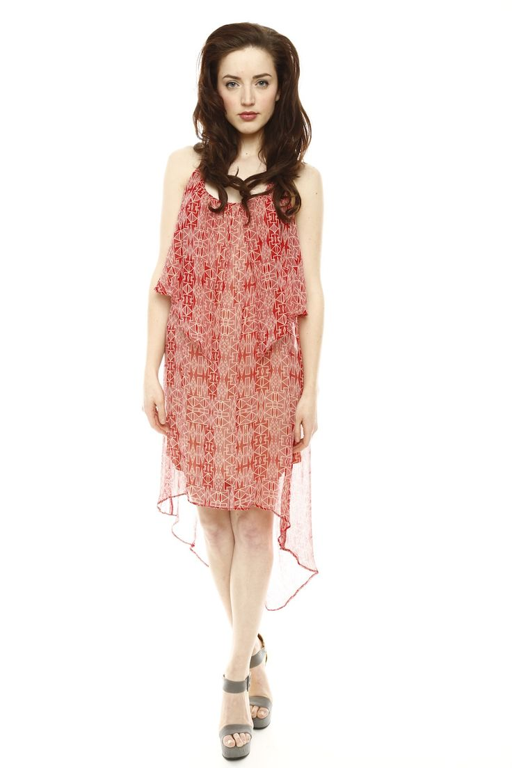 Red & Cream Chiffon Hi Low Dress #fashion #beauty #dress #women #ladies #chiffon