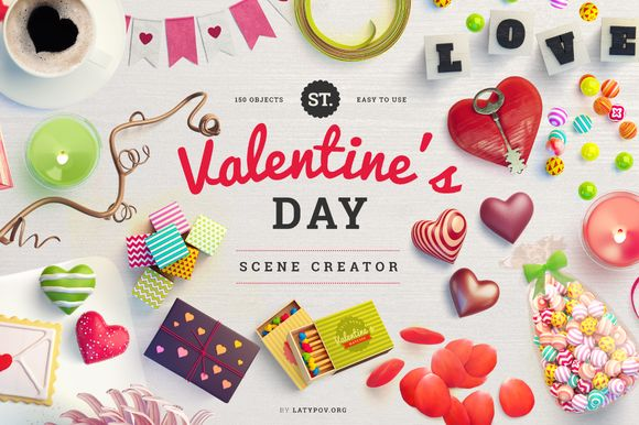 Check out St. Valentine's Day Scene Creator by L_Store on Creative Market