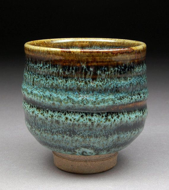 """Ash Tenmoku and Nuka Glazed Yunomi Tea Cup with Unique One of a Kind Glaze finish."""" by shyrabbit"""