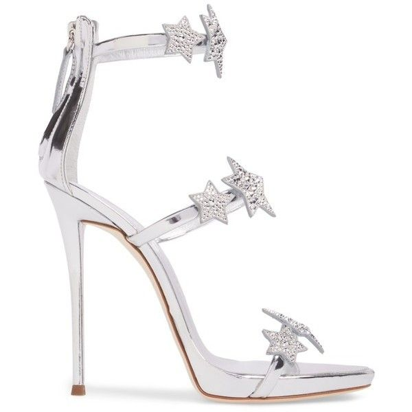 Women's Giuseppe Zanotti Coline Embellished Star Strap Sandal ($1,150) ❤ liked on Polyvore featuring shoes, sandals, tall sandals, strappy shoes, strappy stiletto sandals, sparkly sandals and strappy sandals