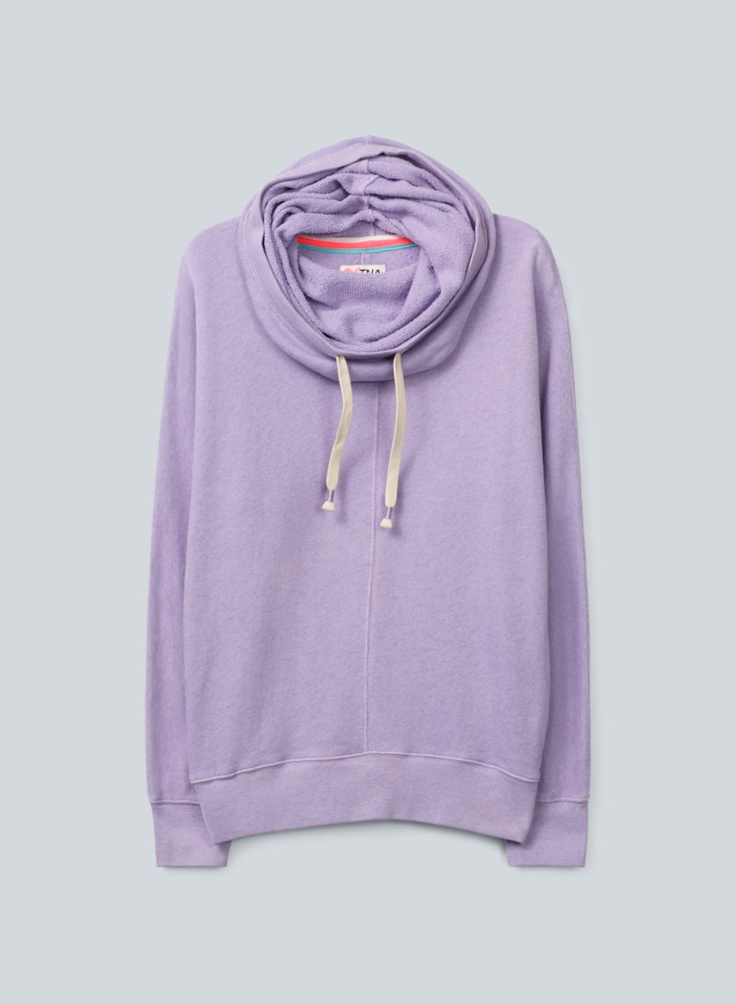 TNA Clifton Sweater—a feminine, drapey spin on the hoodie in soft, loose-knit terry