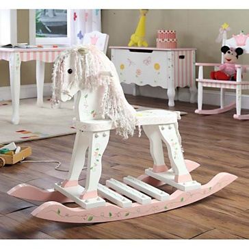 Rocking Horse*Delicate hand painted flowers and pink trim on the rockers legs***118-