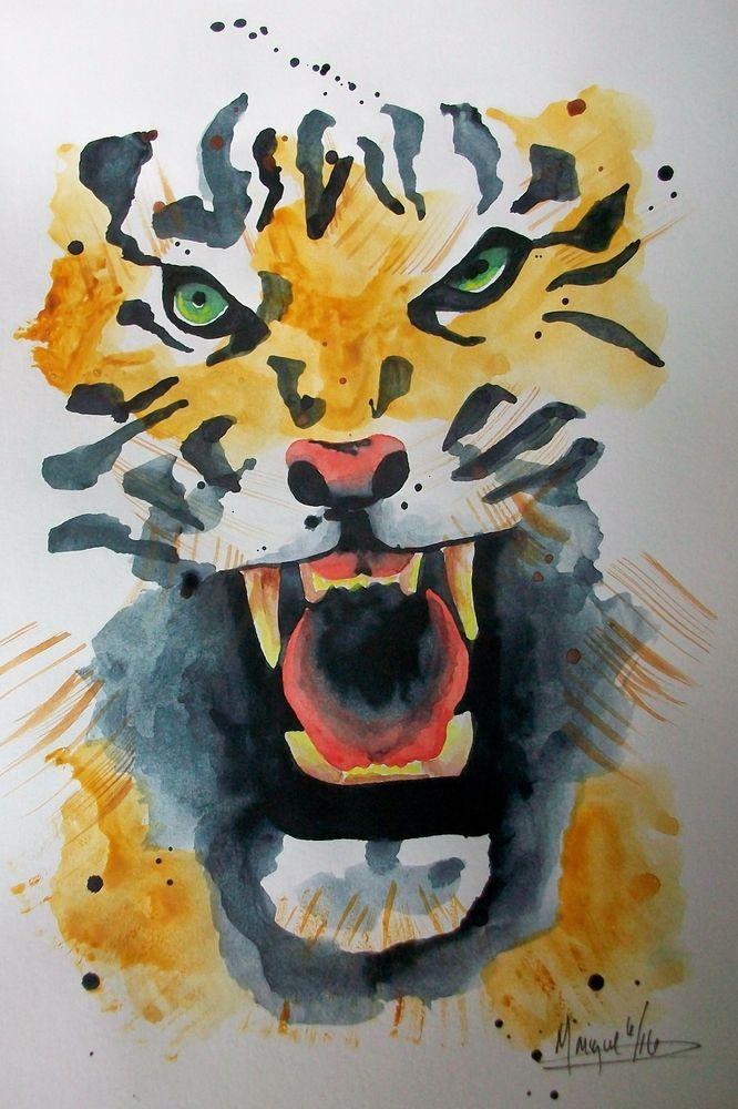 "ORIGINAL WATERCOLOR OF ""CLOSE UP OF ROARING TIGER"" #Abstract"