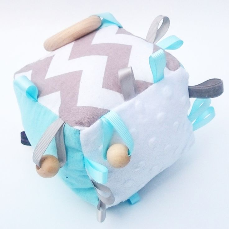 BABY BLUE AND GREY COGNITIVE ACTIVITY CUBE SENSORY BLANKET RATTLE TOY TODDLER CHEVRON ZIG ZAG MINK FABRIC COTTON BEECH WOOD TAGGIE TAGGY TEETHING RING NATURAL TEETHER SOFT BLOCK HANDMADE KAWAIIDEZIGNS