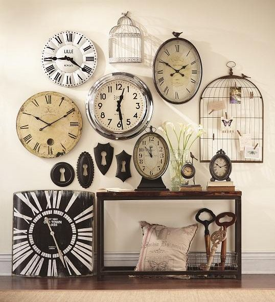 Vintage Clocks Decor <3 (not crazy about the bird cages though!)