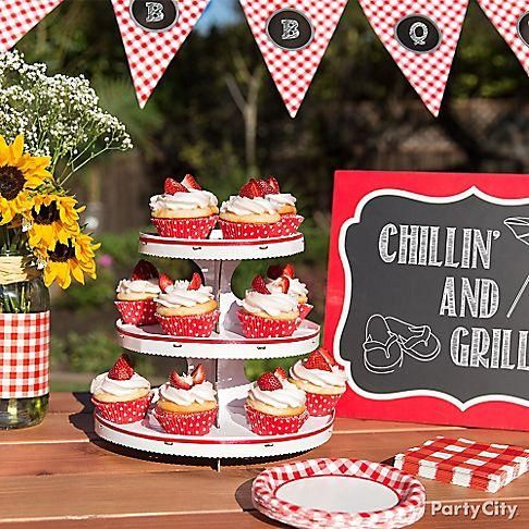 Finish off your picnic or BBQ with something sweet, like Strawberry cupcakes! With Red polka Dot Baking Cups and a White Cupcake Stand, your cupcakes will fit right into your country-style theme!