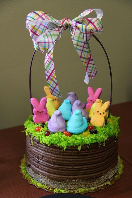 Peep Easter Basket Cake