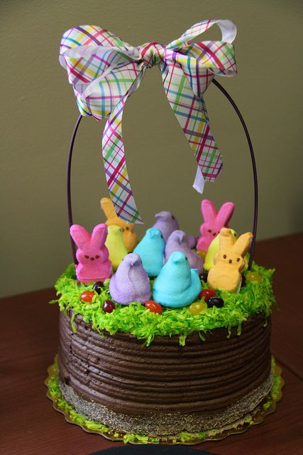 Peep Easter Basket Cake ~ pic only, for inspiration :) {awesome! could also do basket weave pattern on the sides}