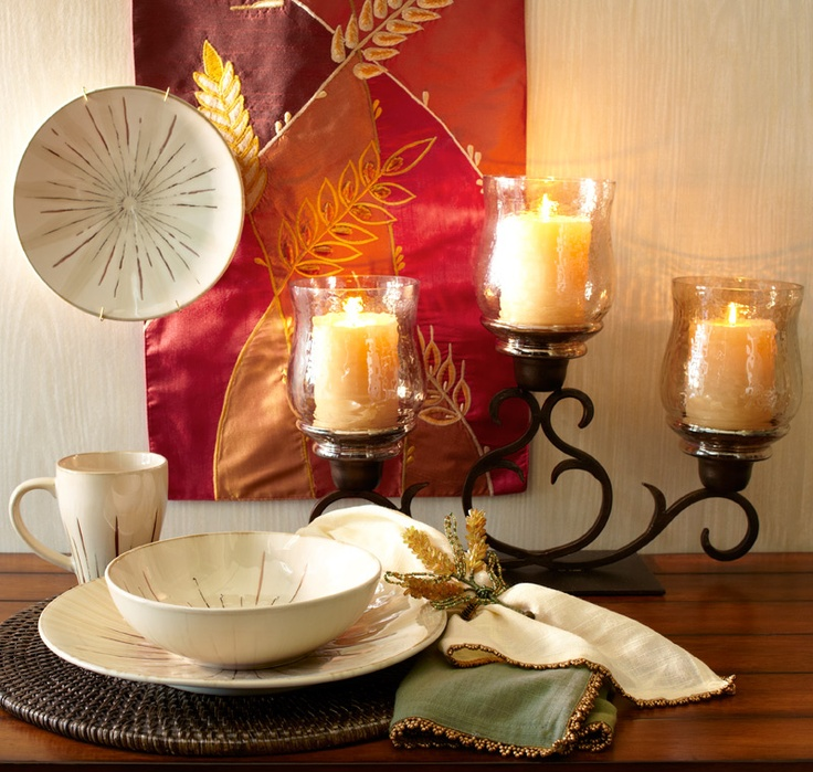 Pier 1 Sanctuary Dinnerware And Amber Luster Centerpiece Create An Inviting Down To Earth Appeal I Want The Candles For My Dining Room Table
