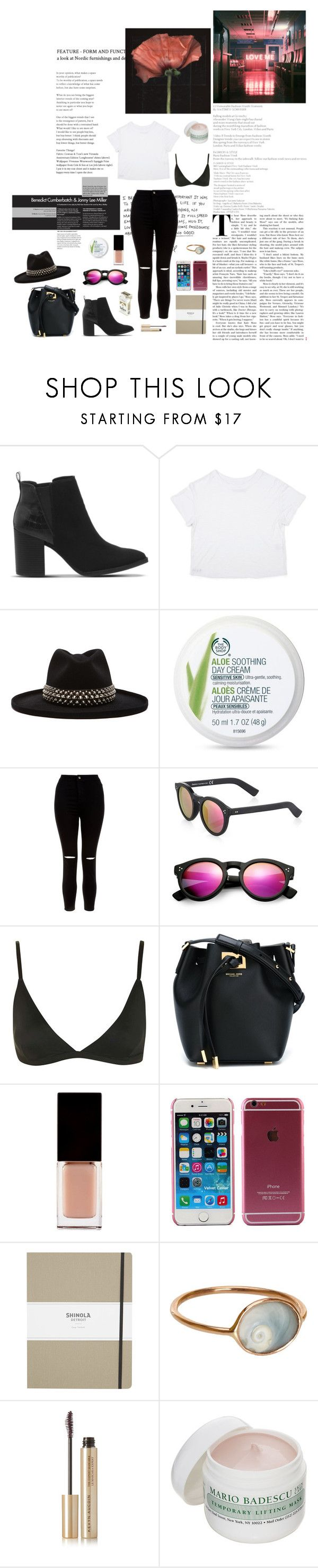 """""""you give me anxiety"""" by velvetshores ❤ liked on Polyvore featuring Office, Gladys Tamez Millinery, The Body Shop, New Look, Illesteva, Topshop, Michael Kors, Serge Lutens, Shinola and Dezso by Sara Beltrán"""