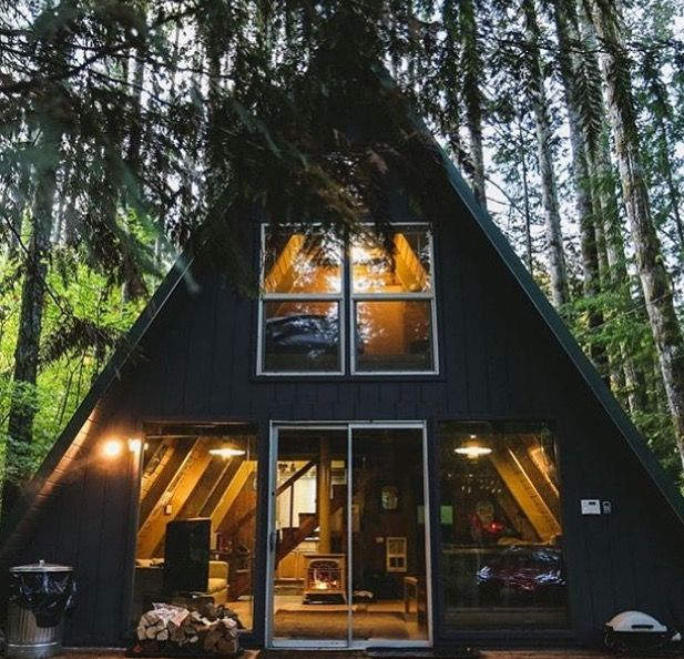 A-frame cabin with big windows