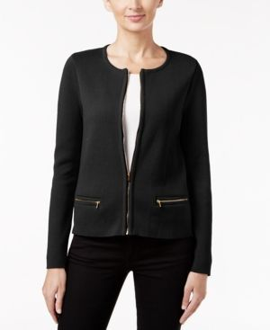 Charter Club Zip-Up Cardigan, Only at Macy's - Black S