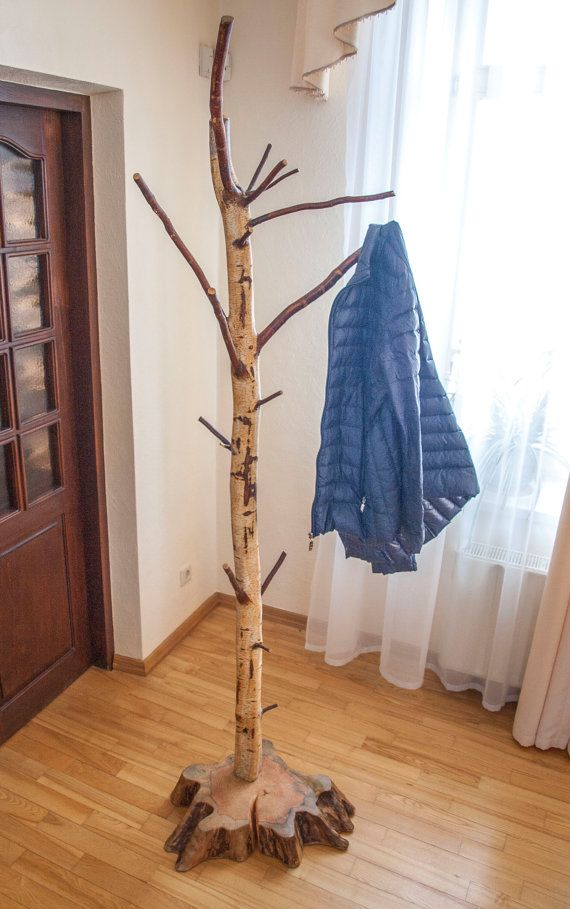 Coat rack Free standing birch coat stand by latvianwoodartisans