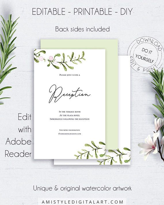 Printable Wedding Reception Card, with unique and modern watercolor mistletoe design, in an rustice and minimalist style.This wedding reception insert card printable is an instant download EDITABLE PDF pack so you can download it right away, DIY edit and print it at home or at your local copy shop by Amistyle Digital Art on Etsy