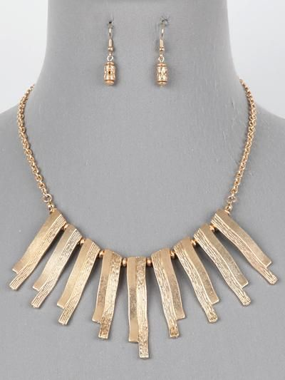 Fringe Bars Bib Necklace Set