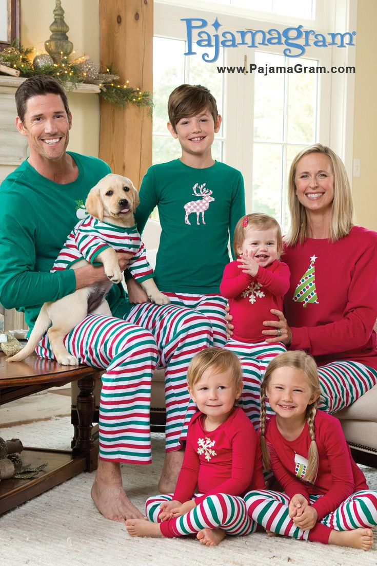 So festive! These matching snuggly jersey PJs are perfect for Christmas morning! Plus super cute motifs; Frosty, Christmas tree, snowflake, stocking, and reindeer. www.PajamaGram.com