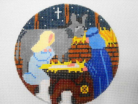 Nativity Scene-by NM ARTS 18 ct. hand-painted needlepoint ornament