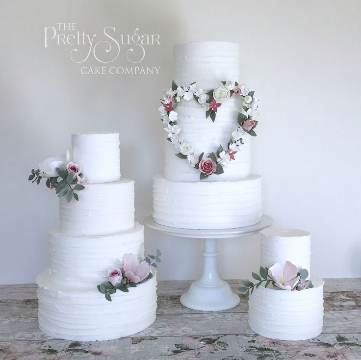 Rustic shabby chic styled wedding cakes