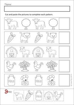 MEGA Math & Literacy Worksheets & Activities - Down on the Farm. 100 Pages in total!! A page from the unit: Patterns cut and paste