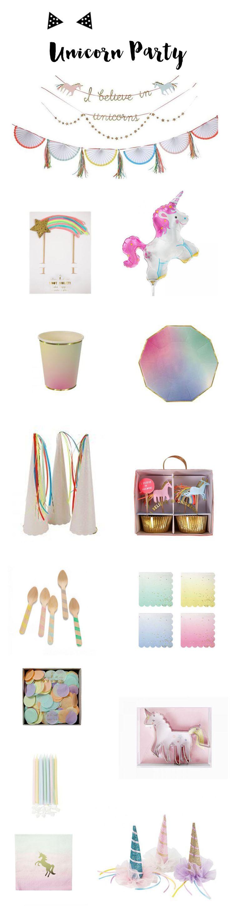 Vaisselle et accessoires de décoration sur le thème des licornes