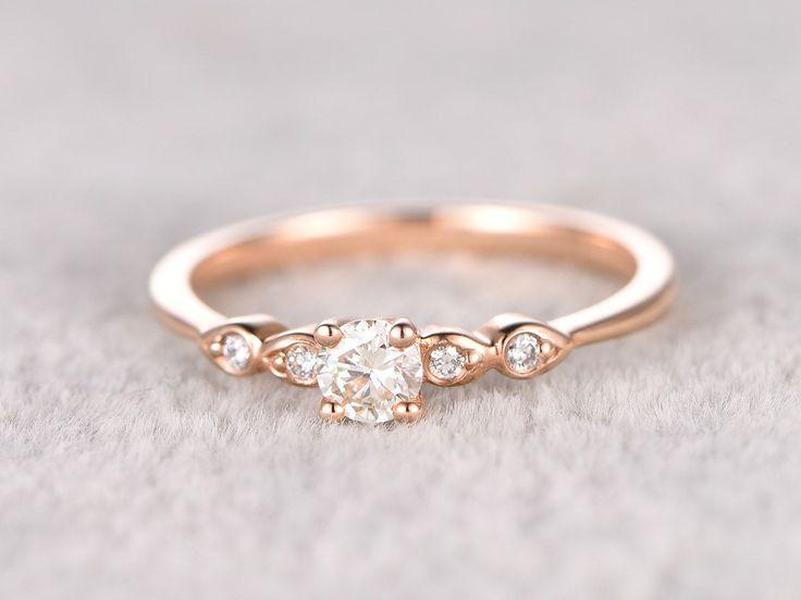 5mm Round brilliant Moissanite Engagement ring Rose gold,Diamond wedding band,14k Solid gold,Gem stone Promise Bridal Ring,Anniversary Ring