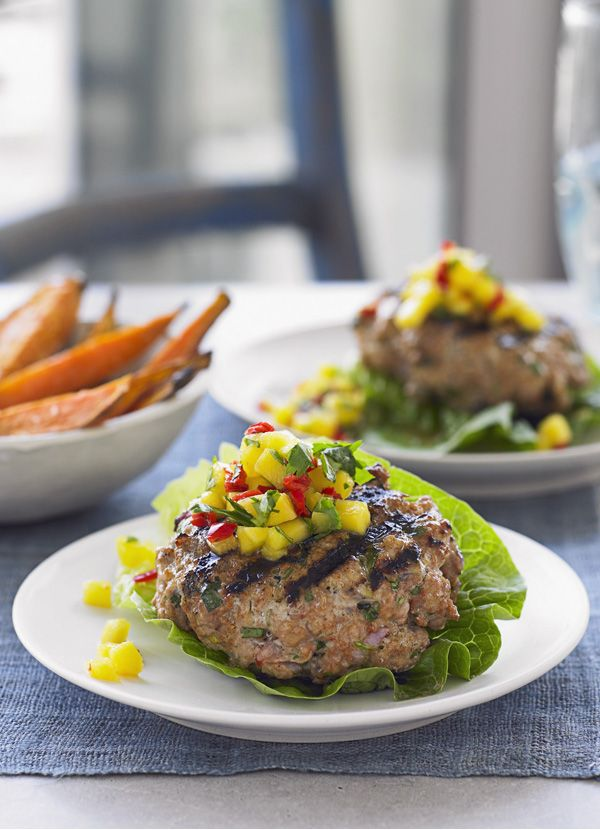 Thai burgers with salsa and sweet potato wedges